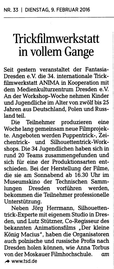 Dresdner Neueste Nachrichten 09.02.2016